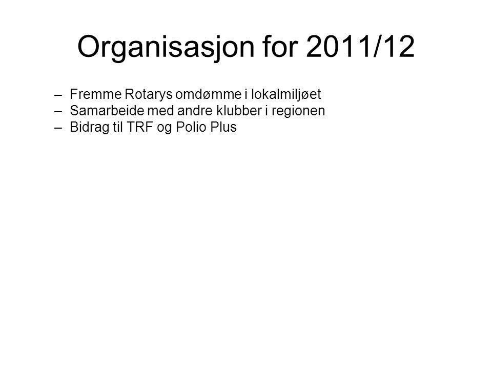 Organisasjon for 2011/12 –Fremme Rotarys omdømme i lokalmiljøet –Samarbeide med andre klubber i regionen –Bidrag til TRF og Polio Plus