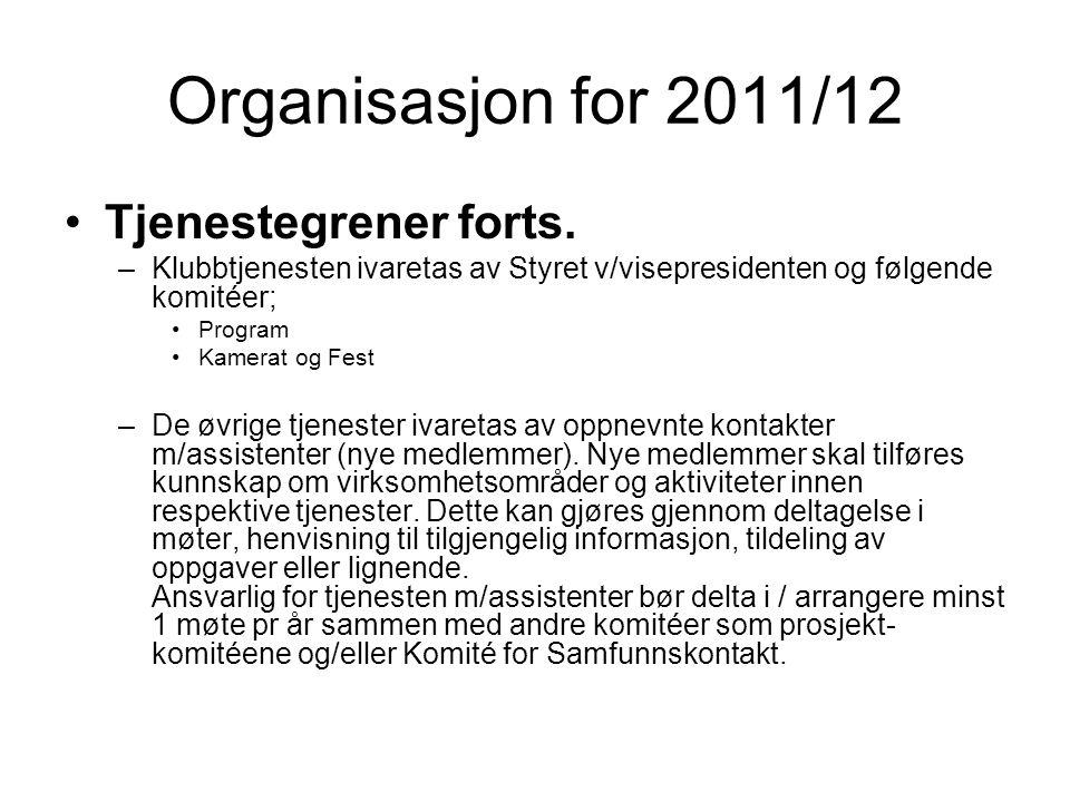 Organisasjon for 2011/12 Tjenestegrener forts. –Klubbtjenesten ivaretas av Styret v/visepresidenten og følgende komitéer; Program Kamerat og Fest –De