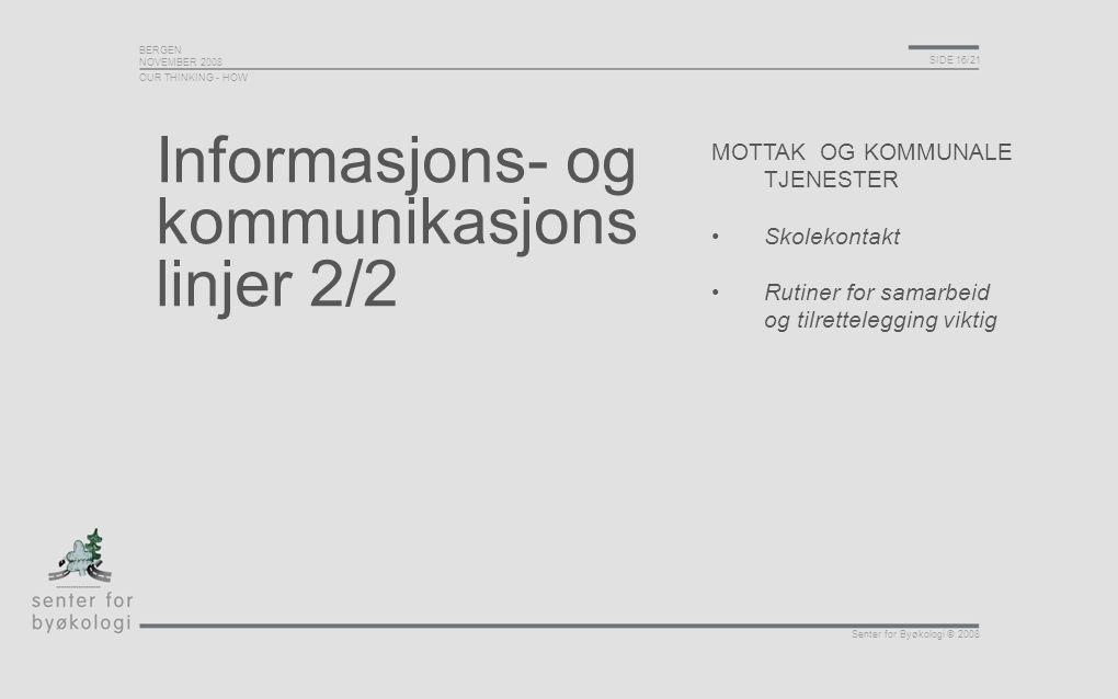 BERGEN NOVEMBER 2008 SIDE 16/21 Senter for Byøkologi © 2008 Informasjons- og kommunikasjons linjer 2/2 MOTTAK OG KOMMUNALE TJENESTER Skolekontakt Ruti