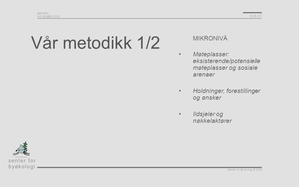 BERGEN NOVEMBER 2008 SIDE 8/21 Senter for Byøkologi © 2008 Vår metodikk 1/2 MIKRONIVÅ Møteplasser: eksisterende/potensielle møteplasser og sosiale are