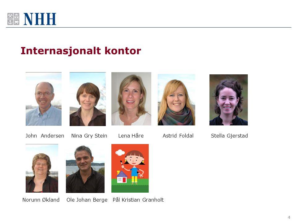 4 Internasjonalt kontor John Andersen Nina Gry Stein Lena Håre Astrid Foldal Stella Gjerstad Norunn Økland Ole Johan Berge Pål Kristian Granholt