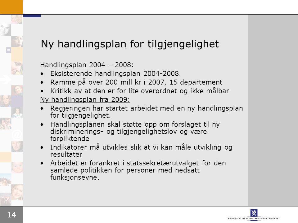 14 Ny handlingsplan for tilgjengelighet Handlingsplan 2004 – 2008: Eksisterende handlingsplan 2004-2008.