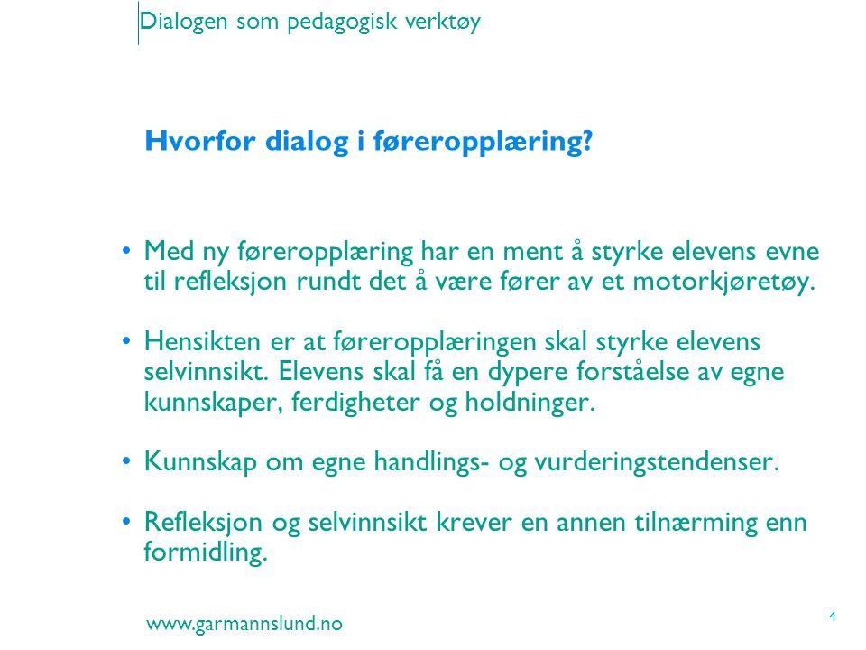 www.garmannslund.no 4 Dialogen som pedagogisk verktøy Hvorfor dialog i føreropplæring? Med ny føreropplæring har en ment å styrke elevens evne til ref