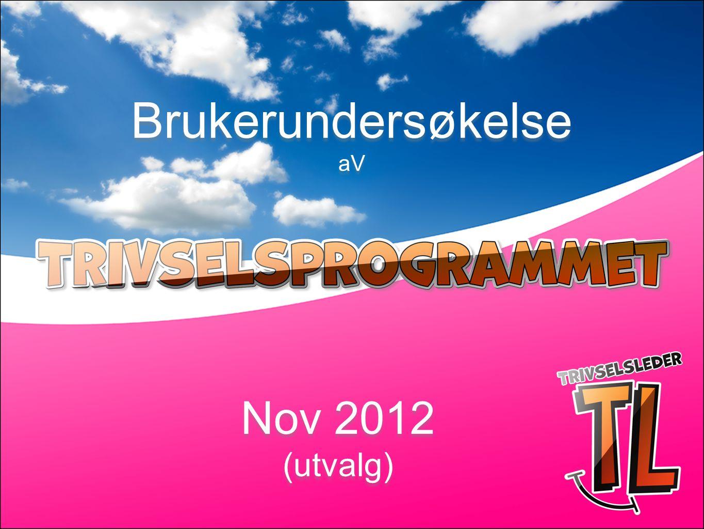 Brukerundersøkelse aV Nov 2012 (utvalg) Nov 2012 (utvalg)