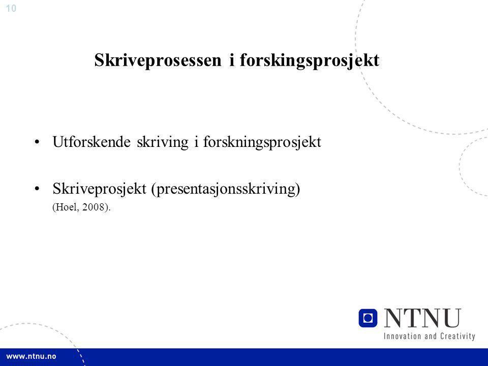 10 Skriveprosessen i forskingsprosjekt Utforskende skriving i forskningsprosjekt Skriveprosjekt (presentasjonsskriving) (Hoel, 2008).
