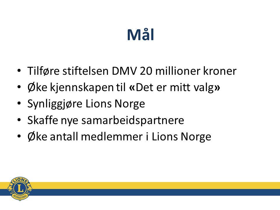 Mål Tilføre stiftelsen DMV 20 millioner kroner Øke kjennskapen til «Det er mitt valg» Synliggjøre Lions Norge Skaffe nye samarbeidspartnere Øke antall