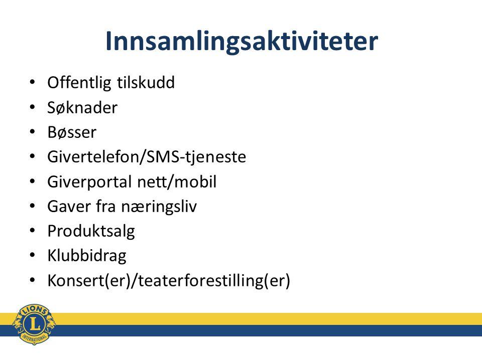 Innsamlingsaktiviteter Offentlig tilskudd Søknader Bøsser Givertelefon/SMS-tjeneste Giverportal nett/mobil Gaver fra næringsliv Produktsalg Klubbidrag