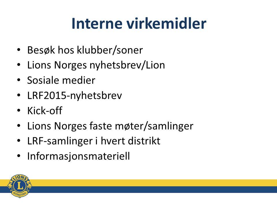 Interne virkemidler Besøk hos klubber/soner Lions Norges nyhetsbrev/Lion Sosiale medier LRF2015-nyhetsbrev Kick-off Lions Norges faste møter/samlinger