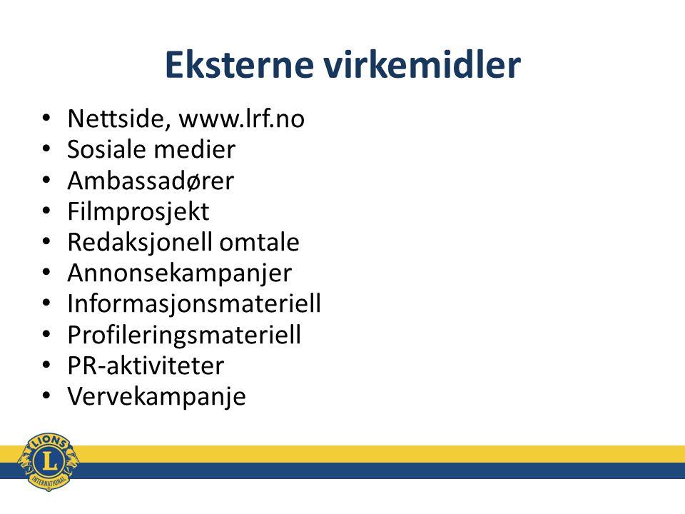 Eksterne virkemidler Nettside, www.lrf.no Sosiale medier Ambassadører Filmprosjekt Redaksjonell omtale Annonsekampanjer Informasjonsmateriell Profiler