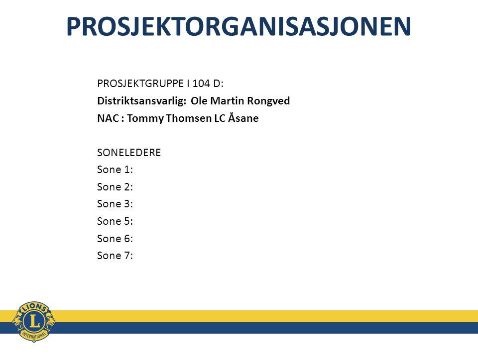 PROSJEKTORGANISASJONEN PROSJEKTGRUPPE I 104 D: Distriktsansvarlig: Ole Martin Rongved NAC : Tommy Thomsen LC Åsane SONELEDERE Sone 1: Sone 2: Sone 3:
