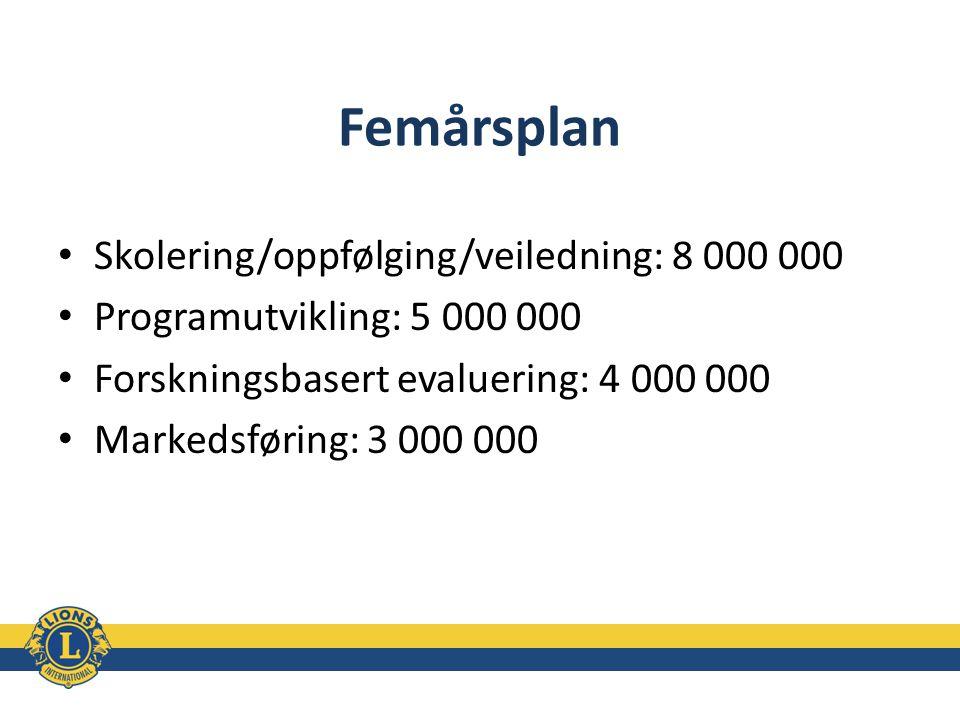 Femårsplan Skolering/oppfølging/veiledning: 8 000 000 Programutvikling: 5 000 000 Forskningsbasert evaluering: 4 000 000 Markedsføring: 3 000 000