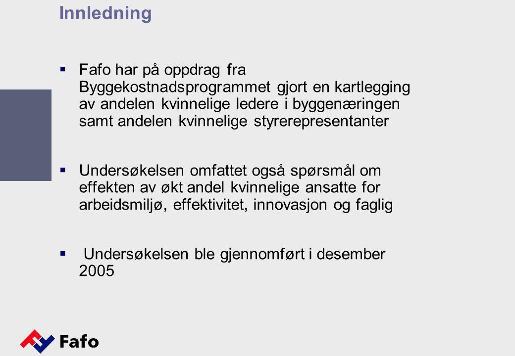 Innledning  Fafo har på oppdrag fra Byggekostnadsprogrammet gjort en kartlegging av andelen kvinnelige ledere i byggenæringen samt andelen kvinnelige styrerepresentanter  Undersøkelsen omfattet også spørsmål om effekten av økt andel kvinnelige ansatte for arbeidsmiljø, effektivitet, innovasjon og faglig  Undersøkelsen ble gjennomført i desember 2005