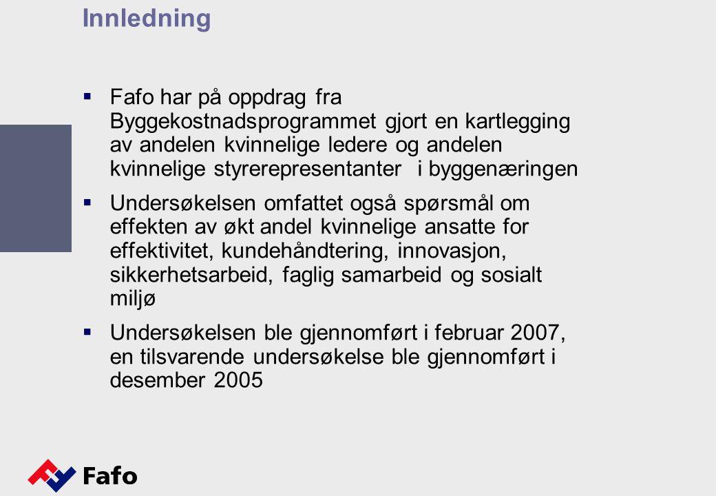 Innledning  Fafo har på oppdrag fra Byggekostnadsprogrammet gjort en kartlegging av andelen kvinnelige ledere og andelen kvinnelige styrerepresentanter i byggenæringen  Undersøkelsen omfattet også spørsmål om effekten av økt andel kvinnelige ansatte for effektivitet, kundehåndtering, innovasjon, sikkerhetsarbeid, faglig samarbeid og sosialt miljø  Undersøkelsen ble gjennomført i februar 2007, en tilsvarende undersøkelse ble gjennomført i desember 2005