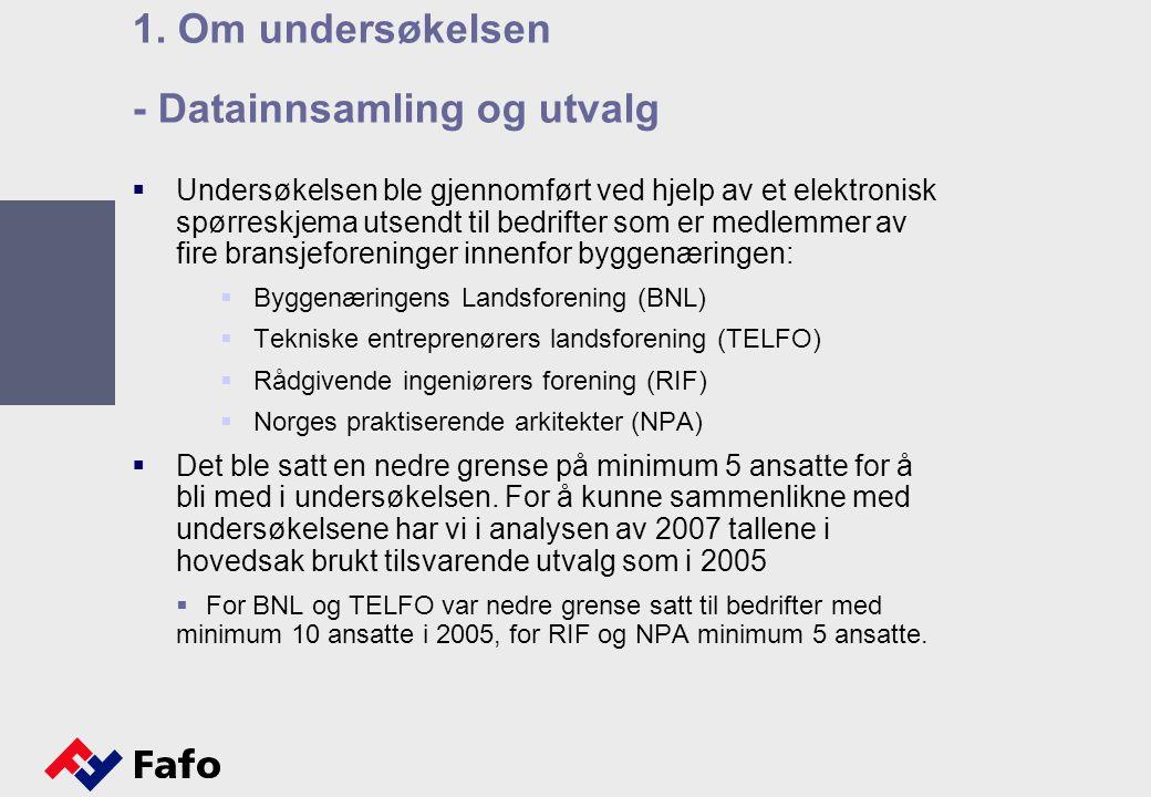  Undersøkelsen ble gjennomført ved hjelp av et elektronisk spørreskjema utsendt til bedrifter som er medlemmer av fire bransjeforeninger innenfor byggenæringen:  Byggenæringens Landsforening (BNL)  Tekniske entreprenørers landsforening (TELFO)  Rådgivende ingeniørers forening (RIF)  Norges praktiserende arkitekter (NPA)  Det ble satt en nedre grense på minimum 5 ansatte for å bli med i undersøkelsen.