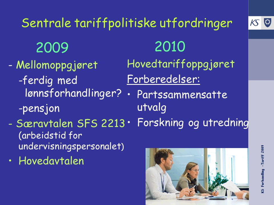 KS Forhandling -Tariff 2009 Arbeidstid for undervisningspersonalet - avtalehistorikk Mars 2004 1.5.2006 2007/08 2008/09 2009/2010 Større del av arb.tid på skolene, leseplikter m.v.