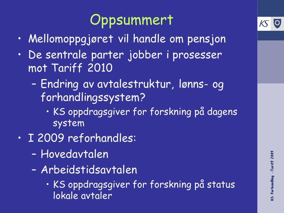 KS Forhandling -Tariff 2009 Oppsummert Mellomoppgjøret vil handle om pensjon De sentrale parter jobber i prosesser mot Tariff 2010 –Endring av avtalestruktur, lønns- og forhandlingssystem.