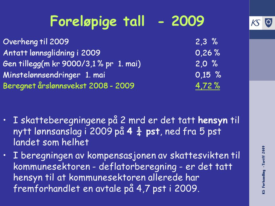 KS Forhandling -Tariff 2009 Foreløpige tall - 2009 Overheng til 20092,3 % Antatt lønnsglidning i 20090,26 % Generelt tillegg (minst kr 9000 / 3,1 % pr 1.