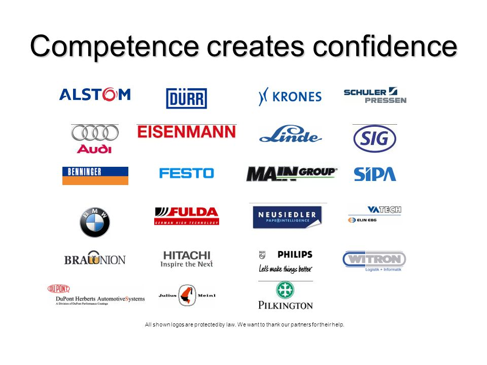 All shown logos are protected by law. We want to thank our partners for their help. Competence creates confidence