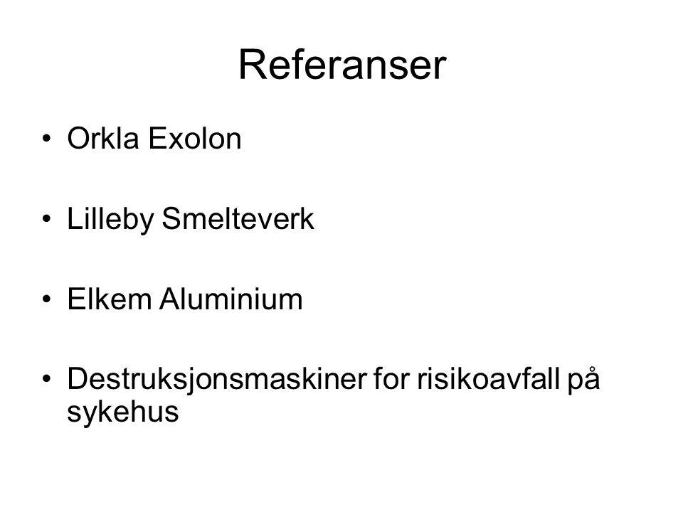 Referanser Orkla Exolon Lilleby Smelteverk Elkem Aluminium Destruksjonsmaskiner for risikoavfall på sykehus