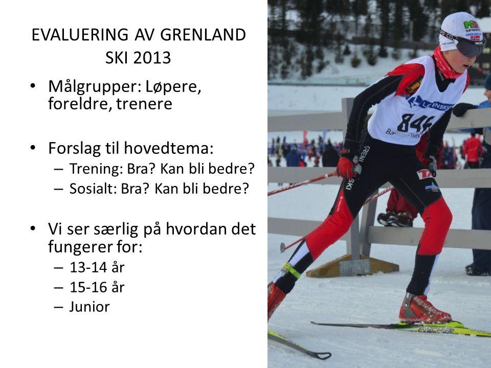 EVALUERING AV GRENLAND SKI 2013 Målgrupper: Løpere, foreldre, trenere Forslag til hovedtema: – Trening: Bra.