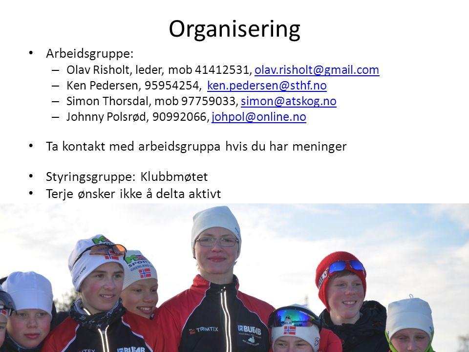 Organisering Arbeidsgruppe: – Olav Risholt, leder, mob 41412531, olav.risholt@gmail.comolav.risholt@gmail.com – Ken Pedersen, 95954254, ken.pedersen@sthf.noken.pedersen@sthf.no – Simon Thorsdal, mob 97759033, simon@atskog.nosimon@atskog.no – Johnny Polsrød, 90992066, johpol@online.nojohpol@online.no Ta kontakt med arbeidsgruppa hvis du har meninger Styringsgruppe: Klubbmøtet Terje ønsker ikke å delta aktivt