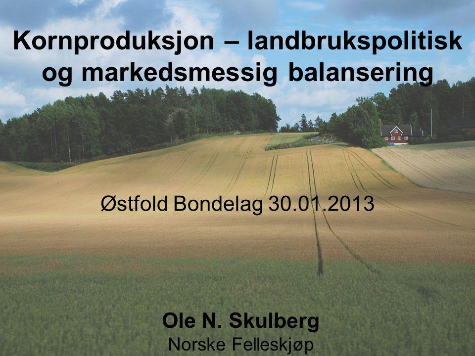 Ole N. Skulberg Norske Felleskjøp Østfold Bondelag 30.01.2013 Kornproduksjon – landbrukspolitisk og markedsmessig balansering