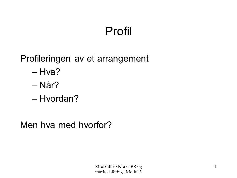 Studentliv - Kurs i PR og markedsføring - Modul 3 11 Profildokumenter –Organisasjonsprofil –Arrangementsprofil –Grafisk profil