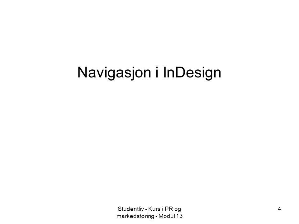 Studentliv - Kurs i PR og markedsføring - Modul 13 4 Navigasjon i InDesign