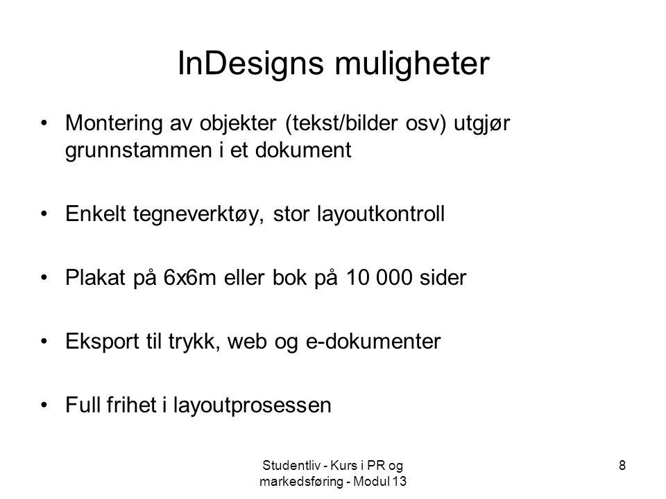 Studentliv - Kurs i PR og markedsføring - Modul 13 9 Package og PDF