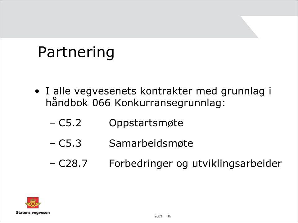 2003 15 Partnering I alle vegvesenets kontrakter med grunnlag i håndbok 066 Konkurransegrunnlag: –C5.2 Oppstartsmøte –C5.3 Samarbeidsmøte –C28.7 Forbe