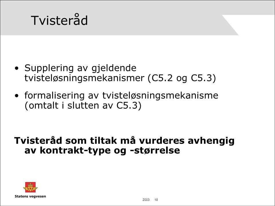 2003 18 Tvisteråd Supplering av gjeldende tvisteløsningsmekanismer (C5.2 og C5.3) formalisering av tvisteløsningsmekanisme (omtalt i slutten av C5.3)