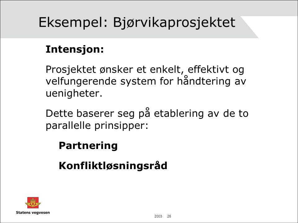 2003 25 Eksempel: Bjørvikaprosjektet Intensjon: Prosjektet ønsker et enkelt, effektivt og velfungerende system for håndtering av uenigheter. Dette bas