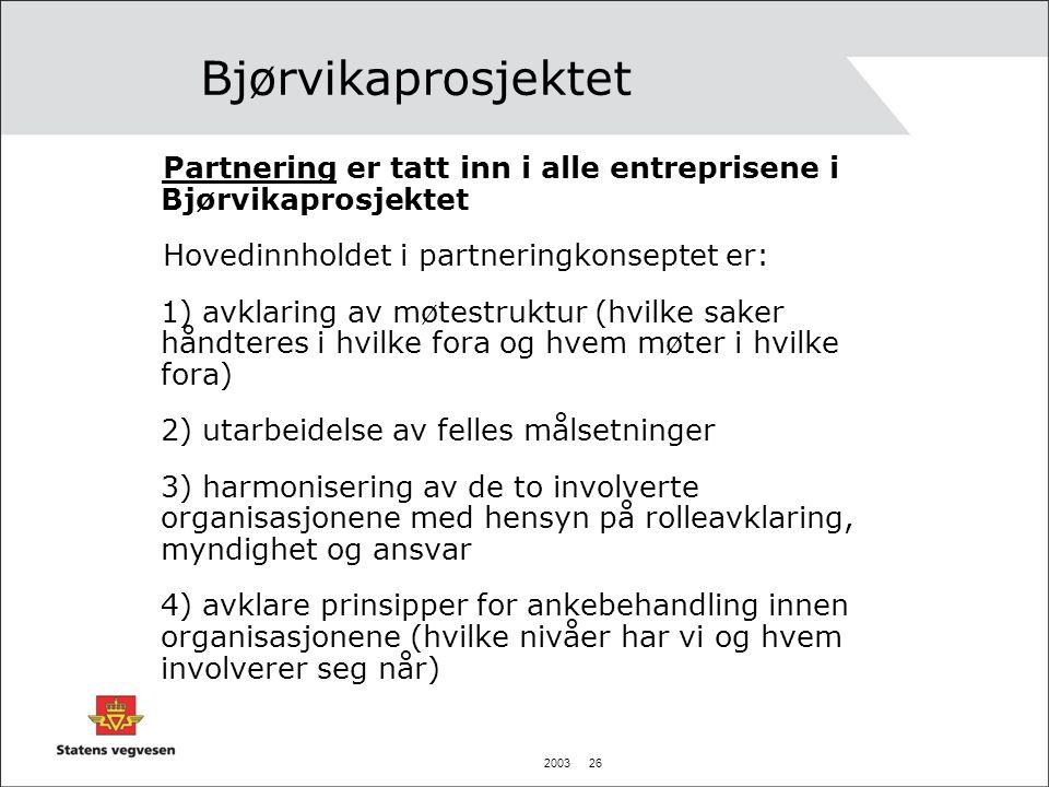 2003 26 Bjørvikaprosjektet Partnering er tatt inn i alle entreprisene i Bjørvikaprosjektet Hovedinnholdet i partneringkonseptet er: 1) avklaring av mø