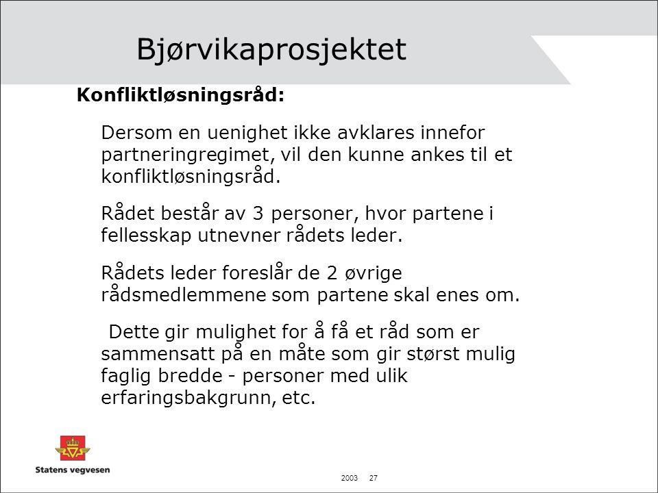 2003 27 Bjørvikaprosjektet Konfliktløsningsråd: Dersom en uenighet ikke avklares innefor partneringregimet, vil den kunne ankes til et konfliktløsning