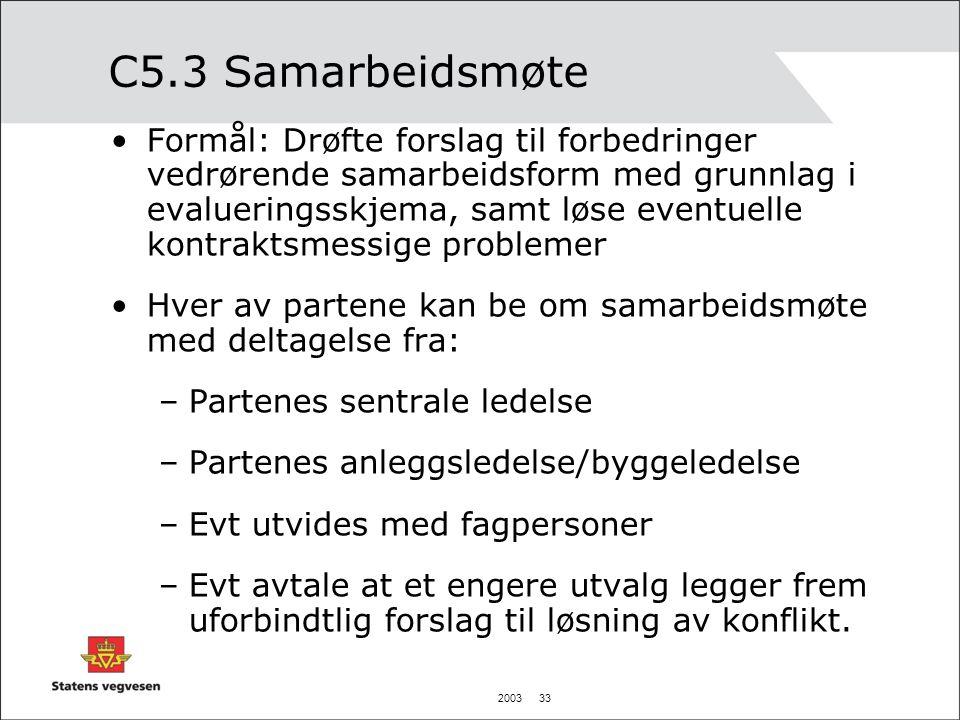 2003 33 C5.3 Samarbeidsmøte Formål: Drøfte forslag til forbedringer vedrørende samarbeidsform med grunnlag i evalueringsskjema, samt løse eventuelle k