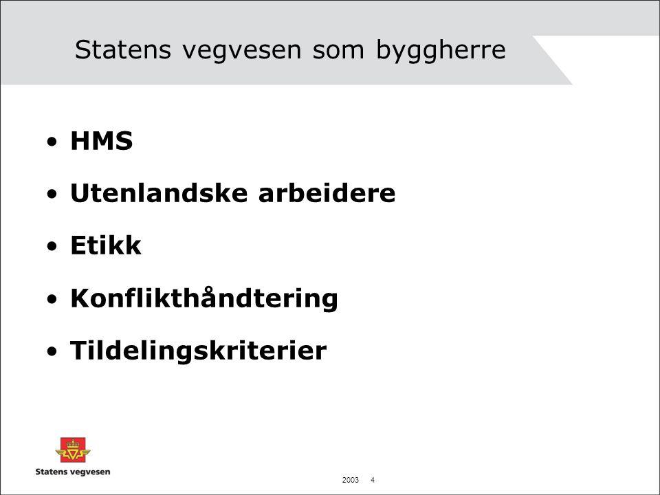 2003 5 Statens vegvesen som byggherre HMS Våre mål Incitamentsordninger Reaksjonsordninger Konserntilsyn