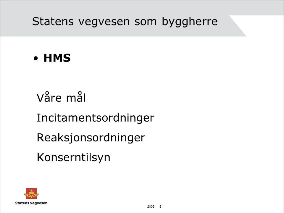 2003 6 Statensvegvesen som byggherre Utenlandske arbeidere: Like lønns- og arbeidsvilkår Språk-krav Arbeidstids-bestemmelser