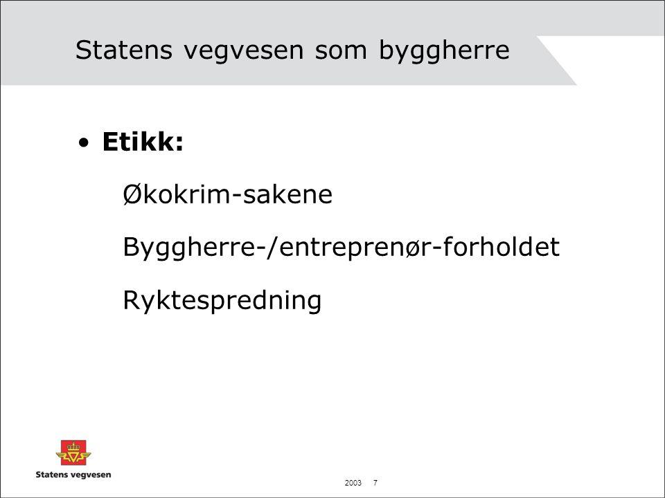 2003 7 Statens vegvesen som byggherre Etikk: Økokrim-sakene Byggherre-/entreprenør-forholdet Ryktespredning