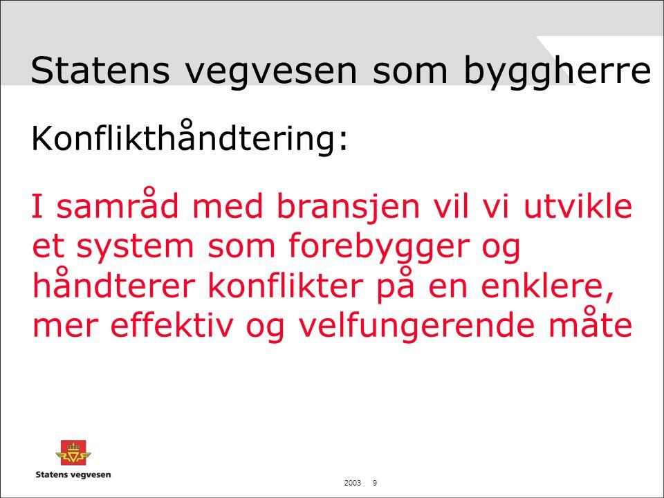 2003 9 Statens vegvesen som byggherre Konflikthåndtering: I samråd med bransjen vil vi utvikle et system som forebygger og håndterer konflikter på en