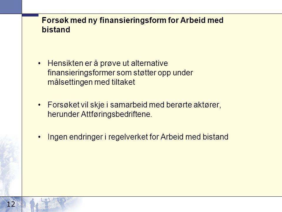 12 Forsøk med ny finansieringsform for Arbeid med bistand Hensikten er å prøve ut alternative finansieringsformer som støtter opp under målsettingen m