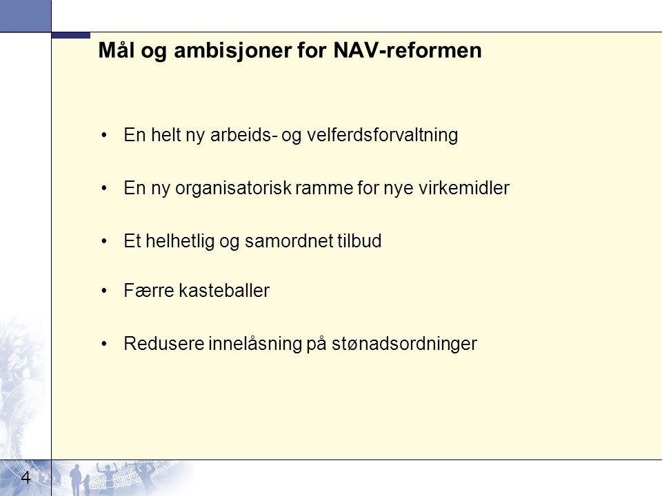 4 Mål og ambisjoner for NAV-reformen En helt ny arbeids- og velferdsforvaltning En ny organisatorisk ramme for nye virkemidler Et helhetlig og samordn