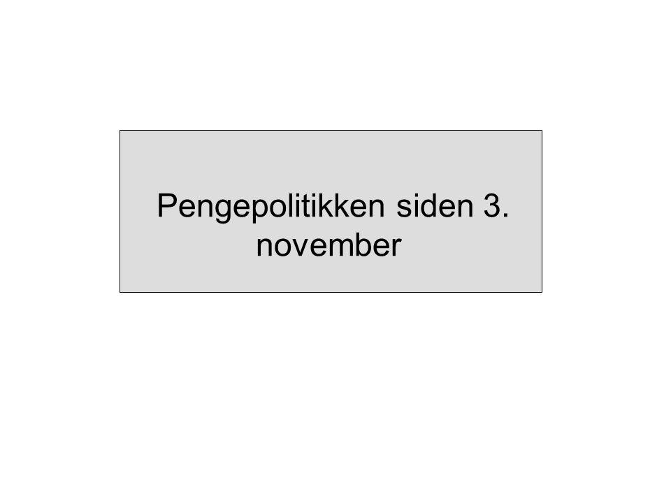 Pengepolitikken siden 3. november