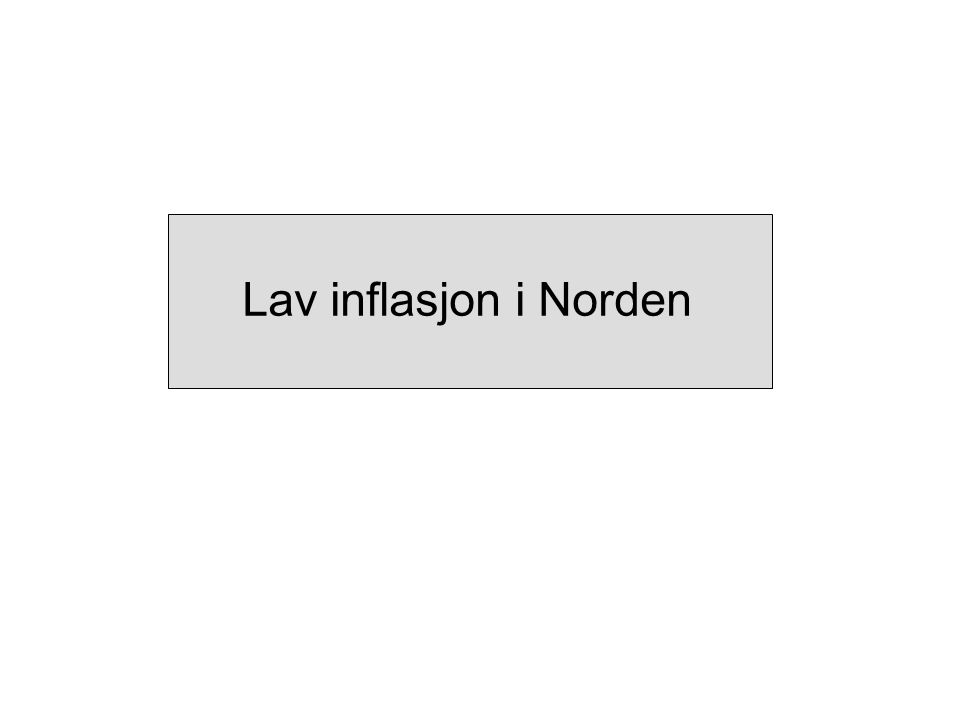 Lav inflasjon i Norden