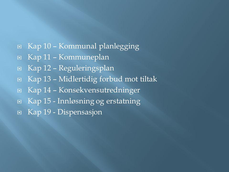  Kap 10 – Kommunal planlegging  Kap 11 – Kommuneplan  Kap 12 – Reguleringsplan  Kap 13 – Midlertidig forbud mot tiltak  Kap 14 – Konsekvensutredn