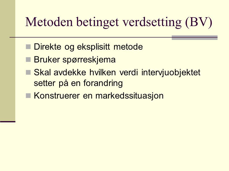 Metoden betinget verdsetting (BV) Direkte og eksplisitt metode Bruker spørreskjema Skal avdekke hvilken verdi intervjuobjektet setter på en forandring Konstruerer en markedssituasjon