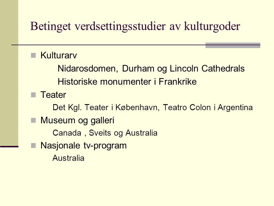 Betinget verdsettingsstudier av kulturgoder Kulturarv Nidarosdomen, Durham og Lincoln Cathedrals Historiske monumenter i Frankrike Teater Det Kgl.