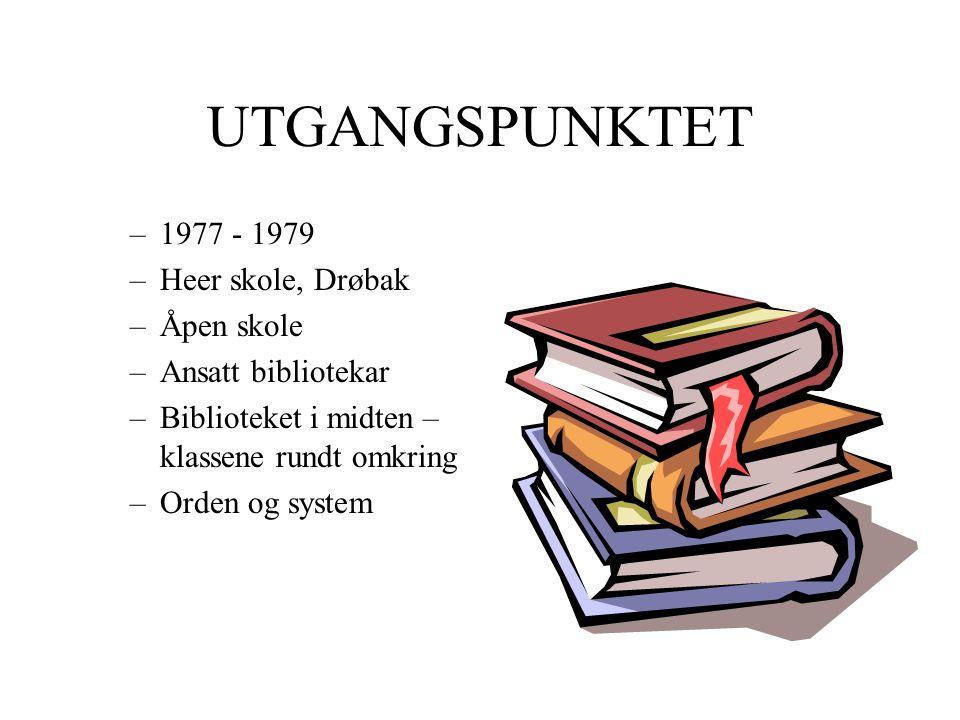 UTGANGSPUNKTET –1977 - 1979 –Heer skole, Drøbak –Åpen skole –Ansatt bibliotekar –Biblioteket i midten – klassene rundt omkring –Orden og system