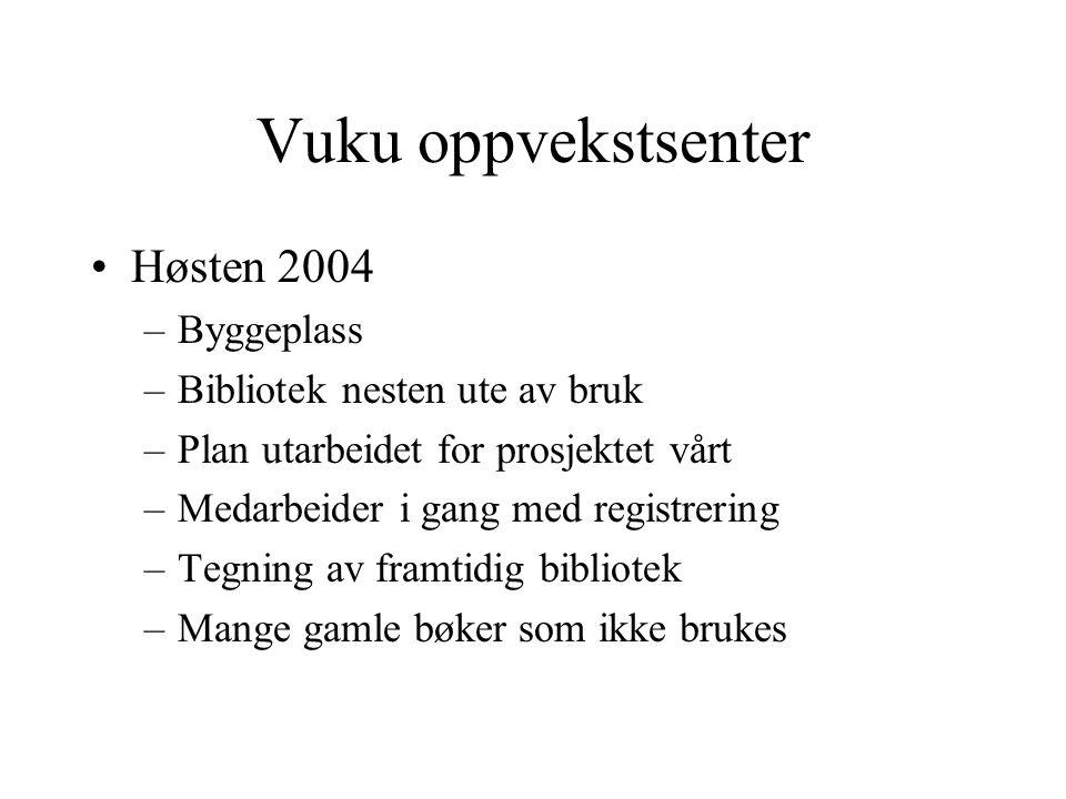 Vuku oppvekstsenter Høsten 2004 –Byggeplass –Bibliotek nesten ute av bruk –Plan utarbeidet for prosjektet vårt –Medarbeider i gang med registrering –T