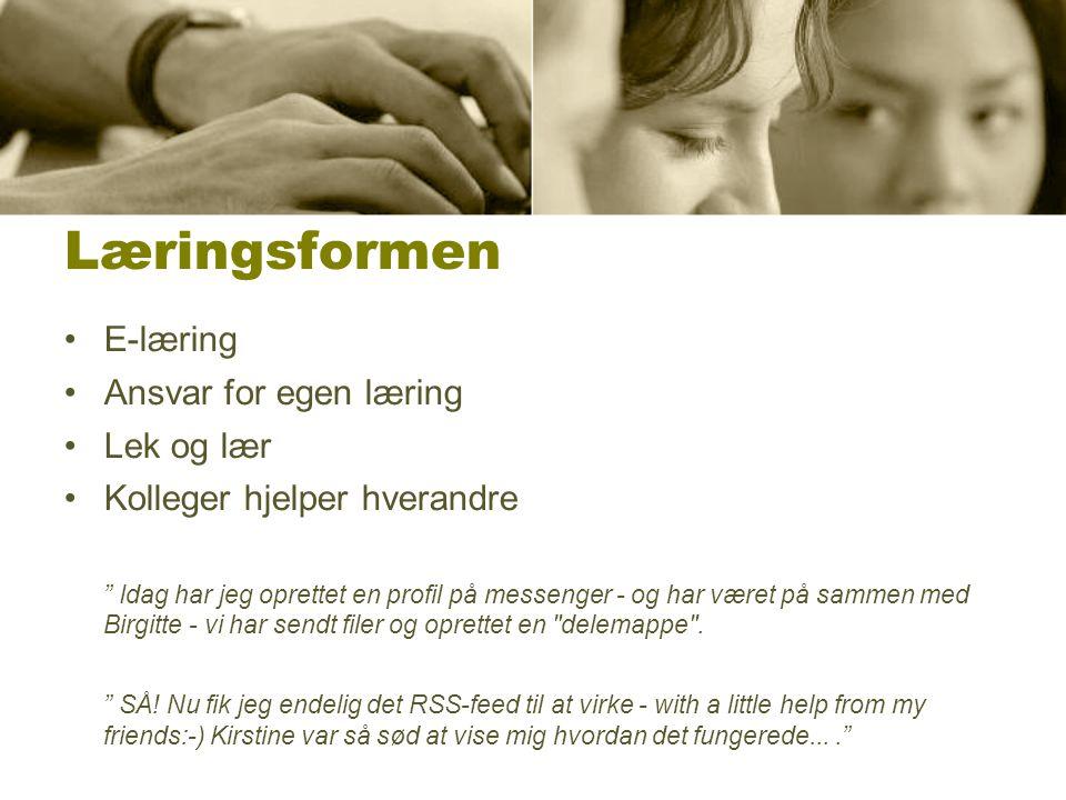 Læringsformen E-læring Ansvar for egen læring Lek og lær Kolleger hjelper hverandre Idag har jeg oprettet en profil på messenger - og har været på sammen med Birgitte - vi har sendt filer og oprettet en delemappe .