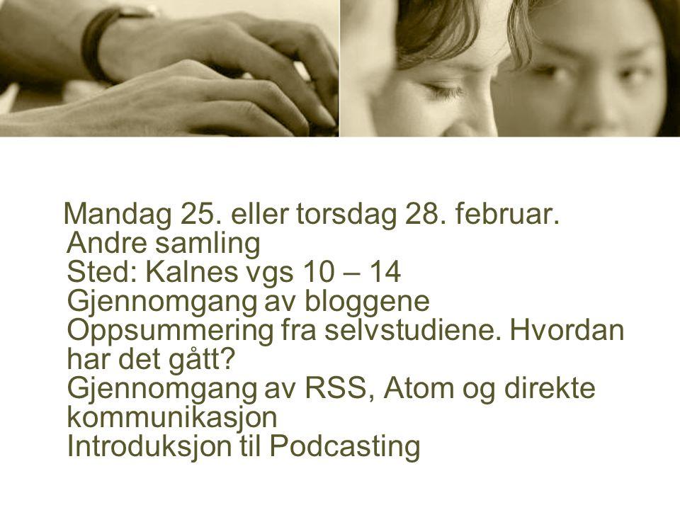 Mandag 25. eller torsdag 28. februar. Andre samling Sted: Kalnes vgs 10 – 14 Gjennomgang av bloggene Oppsummering fra selvstudiene. Hvordan har det gå